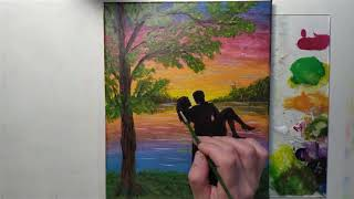 DIY Let's draw it/Lovers rest by the river/Lovers/Landscape.