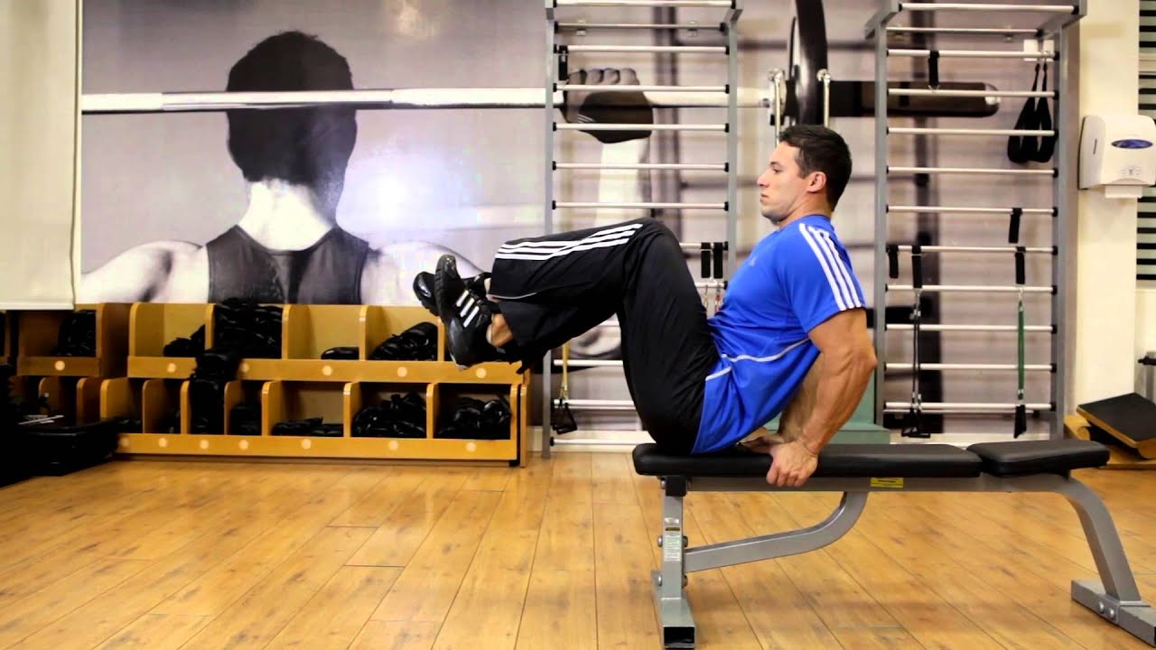 Seated Flat Bench Leg Pull In Abs Exercise Youtube