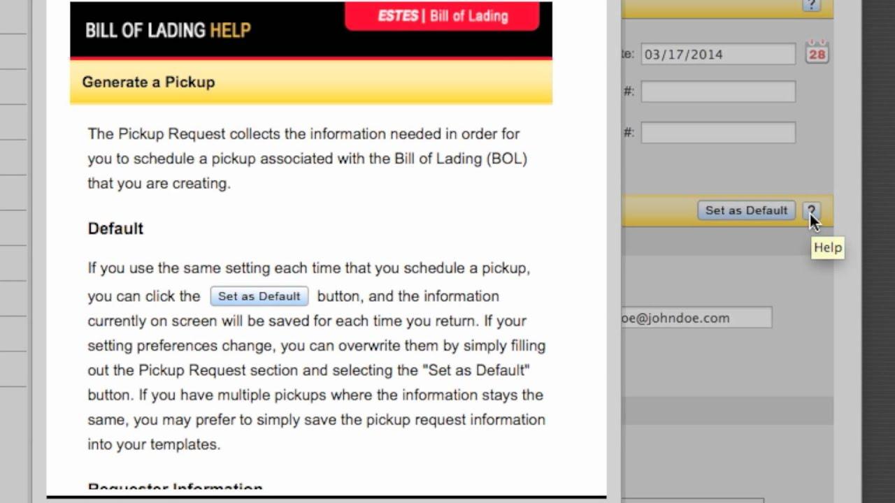 online bill of lading