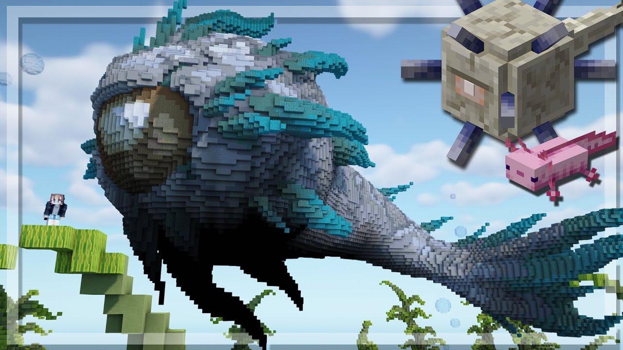 Minecraft MEGA AXOLOTL VS ELDER GUARDIAN Build | 1.17 Update Inspired!