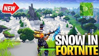 NEW SNOW In Fortnite! *MAP UPDATE* Snow in Fortnite Gameplay... (Fortnite Snow Map)