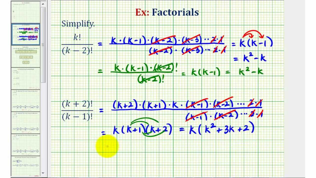ex 2  simplify expressions with factorials containing