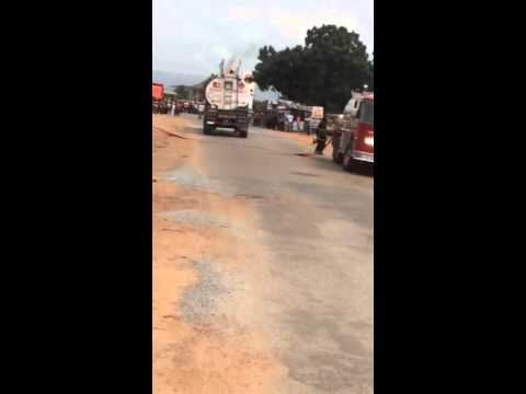 Goil fuel tanker catches fire