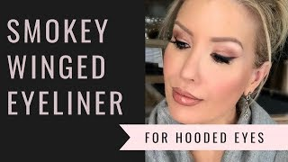 HOW TO: SMOKEY WINGED EYELINER FOR HOODED EYES | Makeup For Beginners