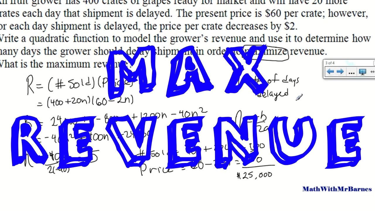 hight resolution of Maximum Revenue Quadratic Word Problems - YouTube