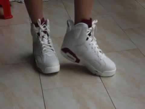 Jordan 6 Maroon On Feet