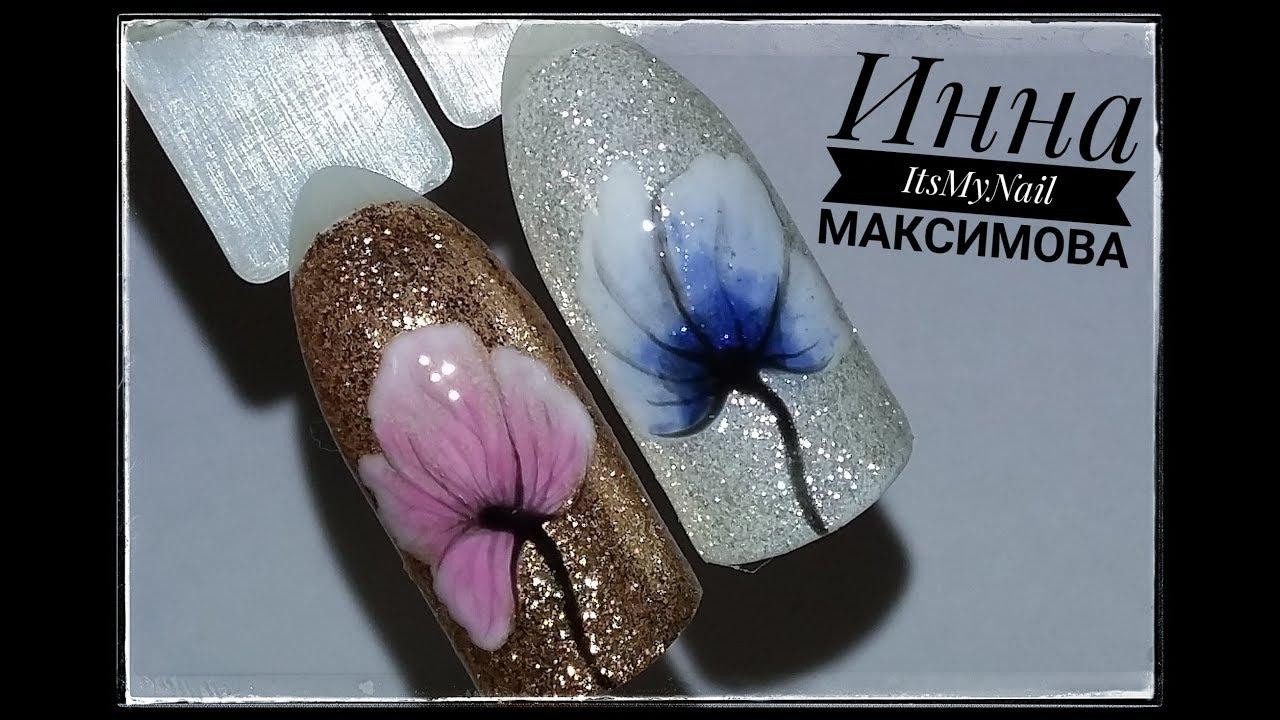 Нежные ЦВЕТЫ на БЛЕСТЯЩЕЙ подложкеЦветы на ногтяхДизайн ногтей гель лаком|цветы для девушек дизайн