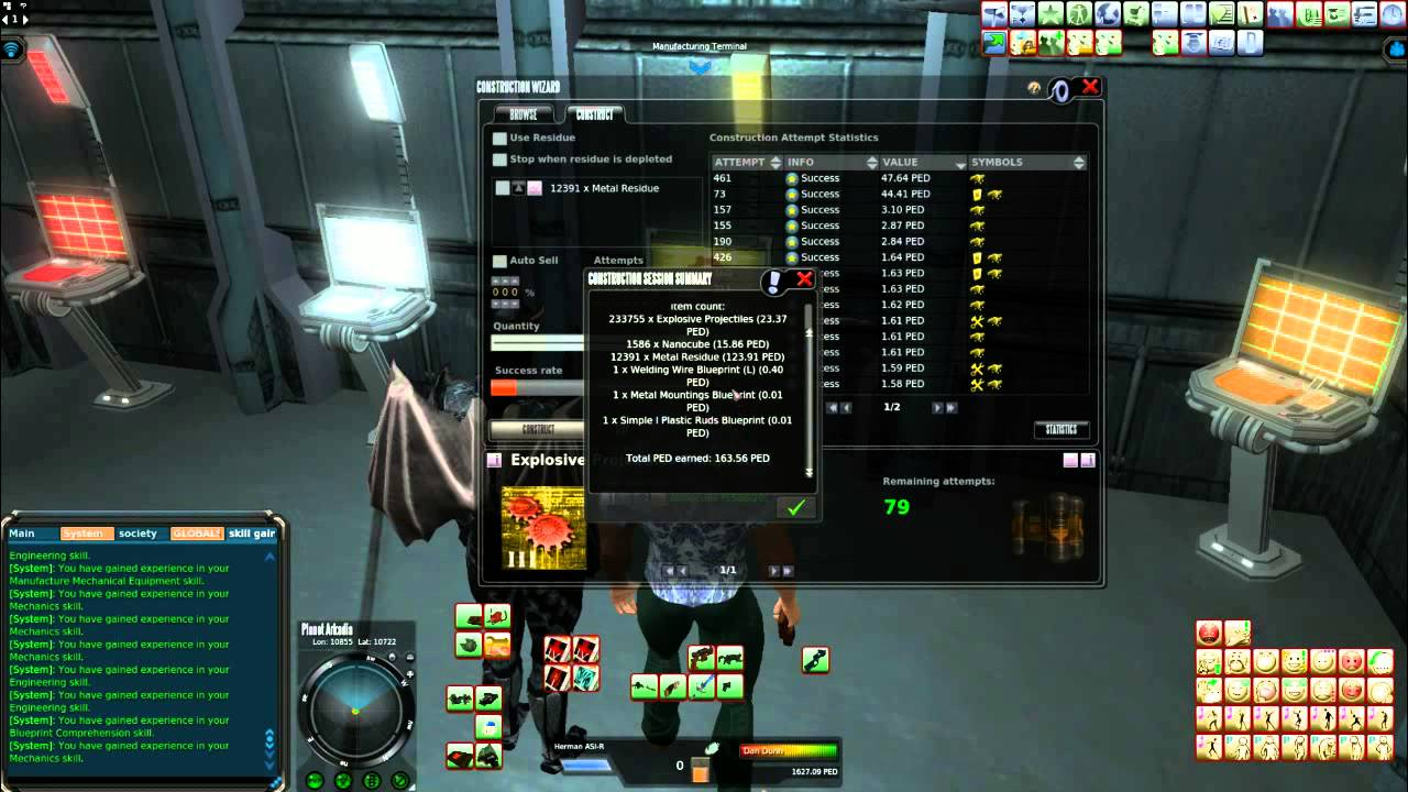 Entropia universe crafting run explosive projectiles bp ii youtube malvernweather Image collections