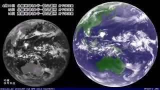 """2014年4月の天気図と気象衛星・レーダー画像を繋げてみました """"MTSAT"""" Weather satellite images, Apr. 2014"""