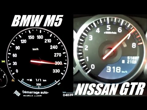 Nissan GTR (545hp) vs BMW M5 (560hp) 0-300 kph Acceleration