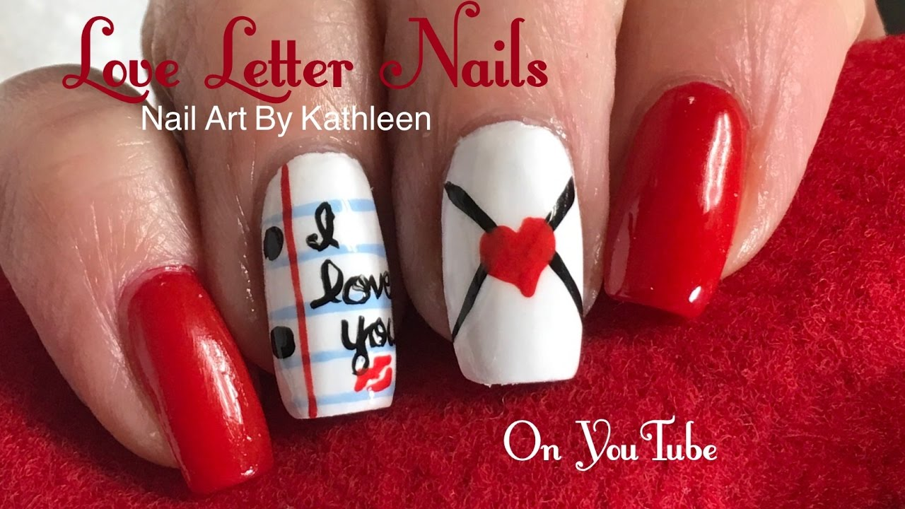 Valentine\'s Day Nail Art - Love Letter Nails - Freehand Tutorial ...