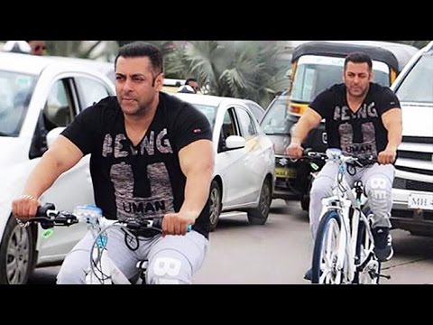 Salman Khan Cycling On Mumbai Roads Full HD Video