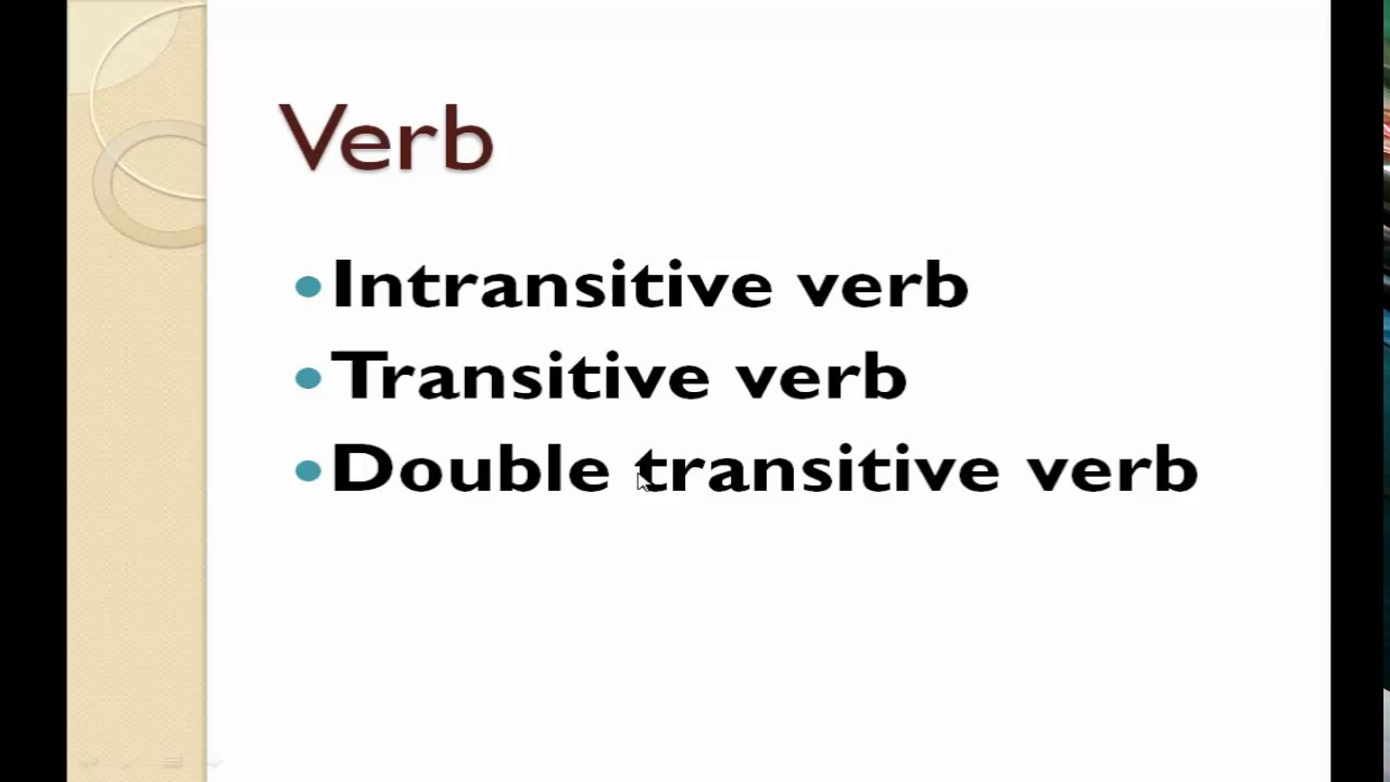 Transitive Intransitive And Double Transitive Verb Youtube