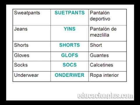 Prendas De Vestir Pronunciación Inglés En Educacionpluscom