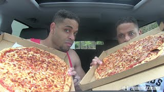 2 Large Cheese Pizza  Eating Challenge  Eat Off @hodgetwins