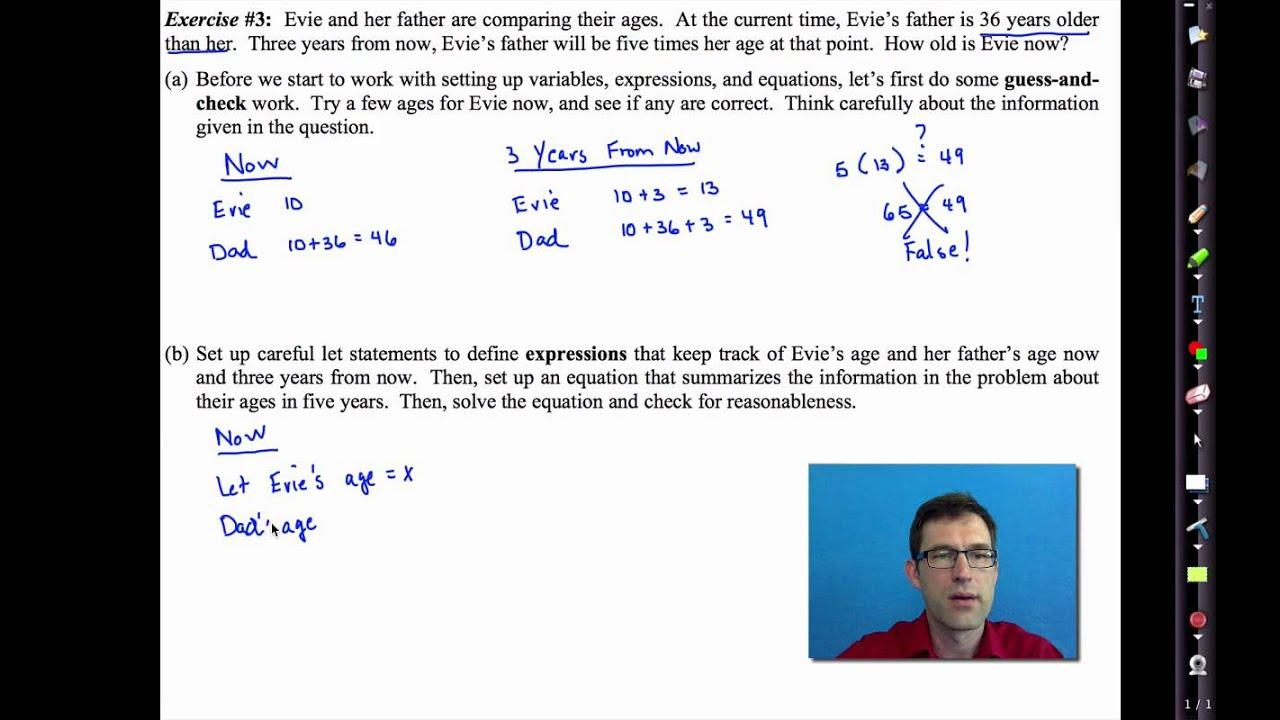 Common Core Algebra I Unit 2 Lesson 5 Near Word Problems