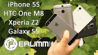 apple iphone 5s vs samsung galaxy s5 vs sony xperia z2 vs htc one m8 битва титанов от ferumm com
