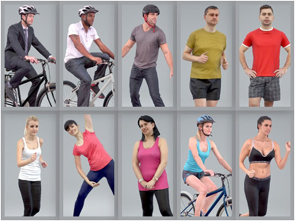 3D Human Model: Bundle of Sport Humans for 3ds Max,Cinema  4D,SketchUp,Rhino,VRay and Thea Render