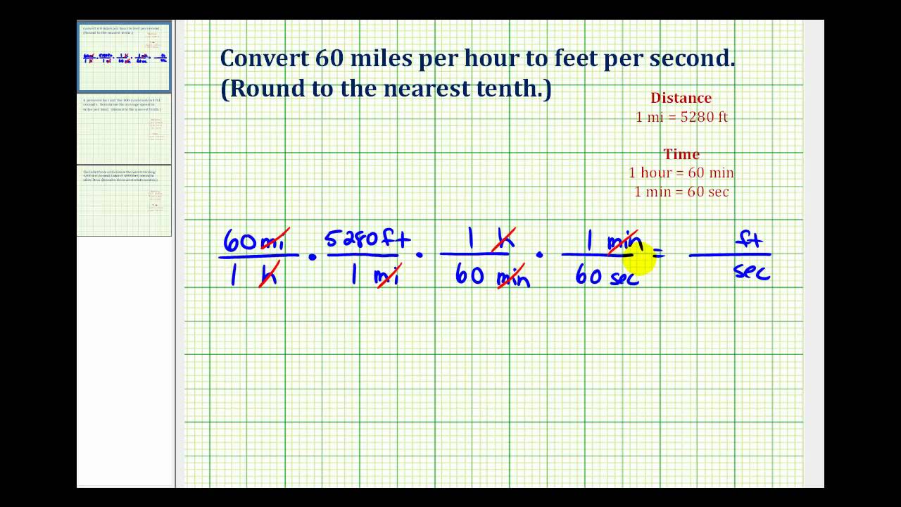 worksheet Converting Feet To Miles ex convert mile per hour to feet second youtube second