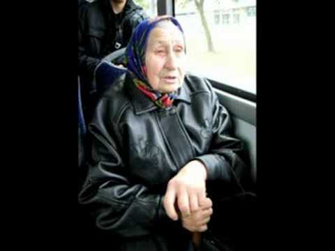 russian old lady on a trolley-bus