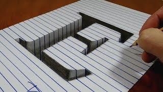 Draw a Letter E Hole on Line Paper   3D Trick Art