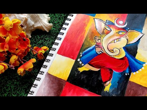 Lord Ganesha Acrylic Painting Modern Art step by step techniques for beginners and artists #ganesha