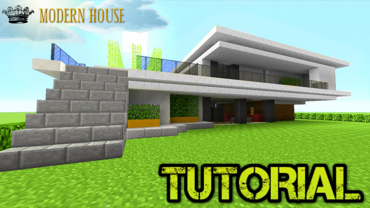 Minecraft tutorial modern house step by step 2 youtube for Building a house step by step