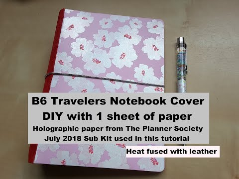 Make a B6 Traveler's Notebook Cover from paper & leather * DIY tutorial with Planner Society paper