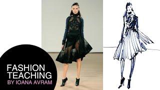 Fashion sketch inspired by Tex Saverio - runway Paris Fashion Week
