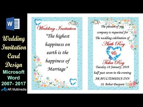 MS Word Tutorial: Professional Wedding Invitation Card Design in Microsoft Word 2013 By Asith