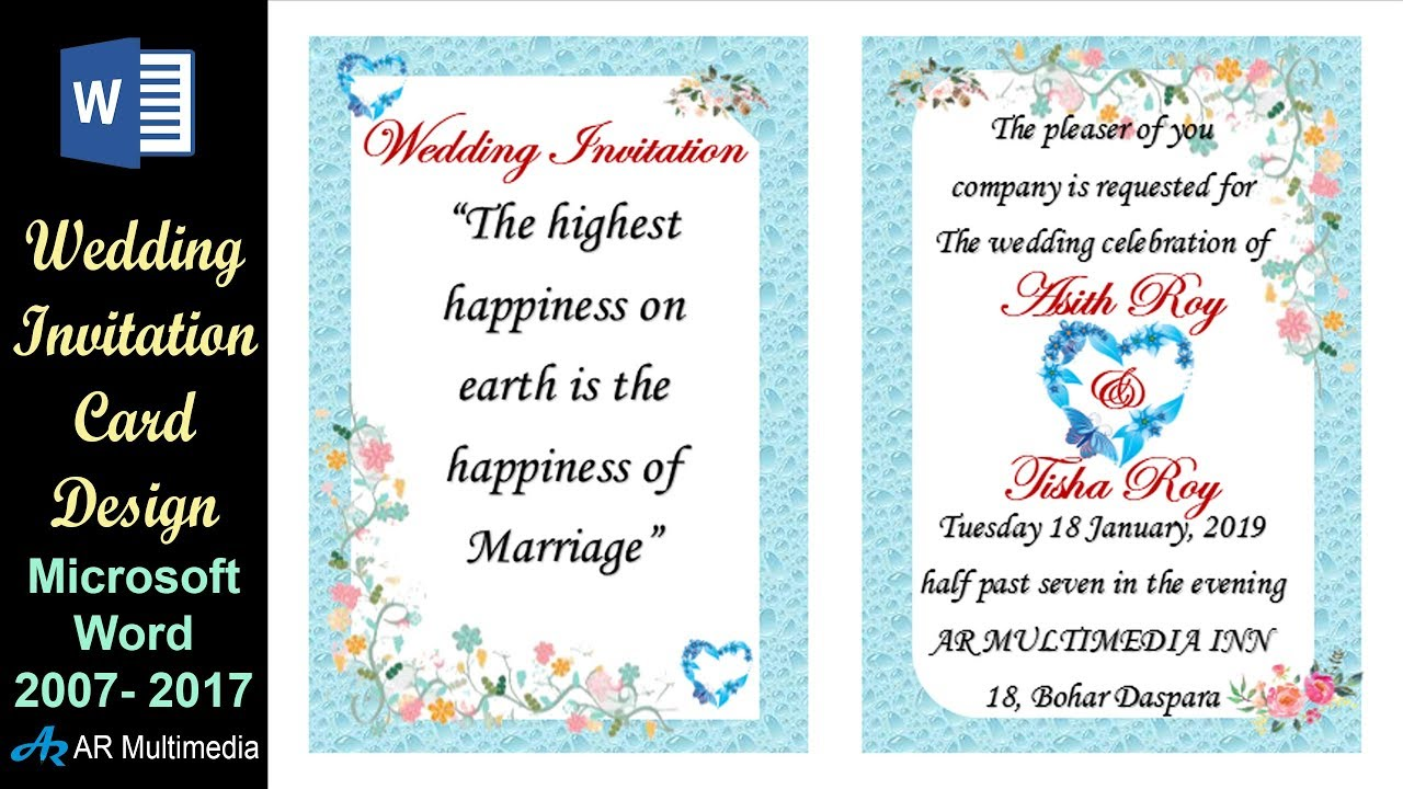 MS Word Tutorial Professional Wedding Invitation Card Design In Microsoft 2013 By Asith