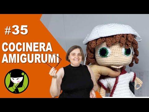 COCINERA AMIGURUMI 35 gorro de cocinero tejido a crochet