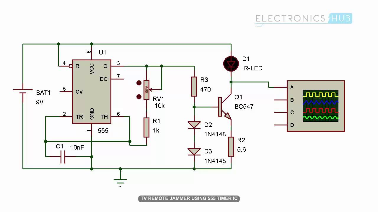 TV Remote Jammer Circuit using 555 Timer IC