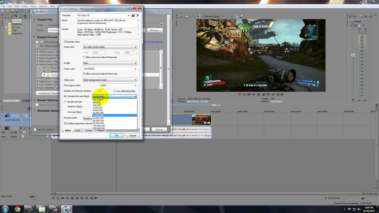 Best Render Settings for YouTube with Sony Vegas (720p/1080p)