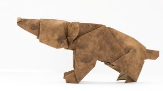 Origami Bear. Easy origami animals for beginners