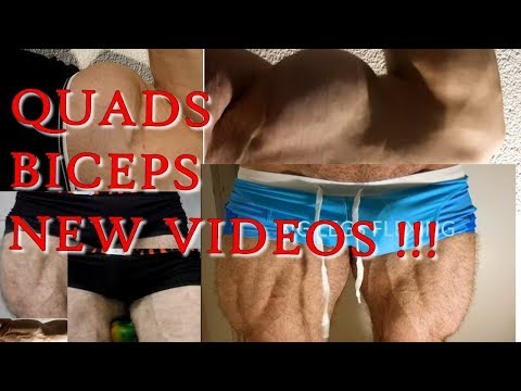 Hairy Hunk muscles flexing BICEPS QUADS -TheStreetFlexer