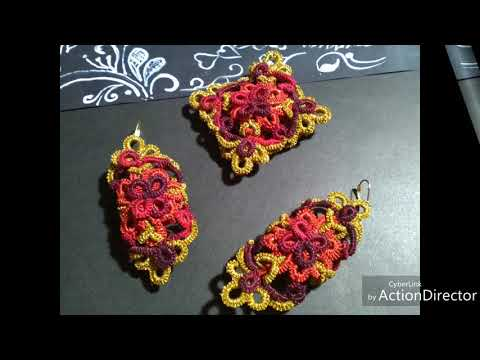 Red & Gold Lace Jewelry Set/ Tatting Earrings/ Lace Jewelry/Orecchini Necklae/ Frivolite Pendant