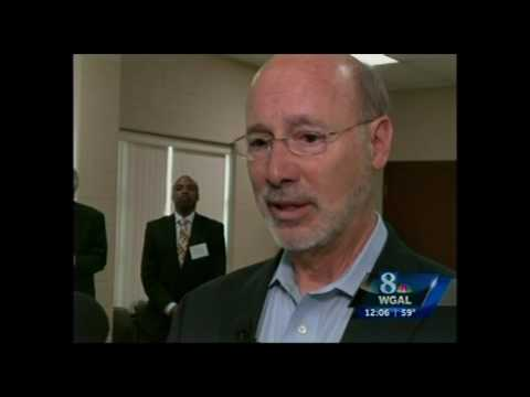 WGAL TV NBC8 reports on Governor Tom Wolf's visit to High Steel Structures, Lancaster, Pa.