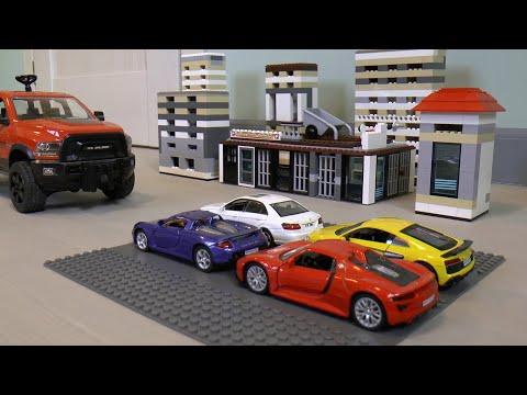 4 diecast cars ride on a big SUV
