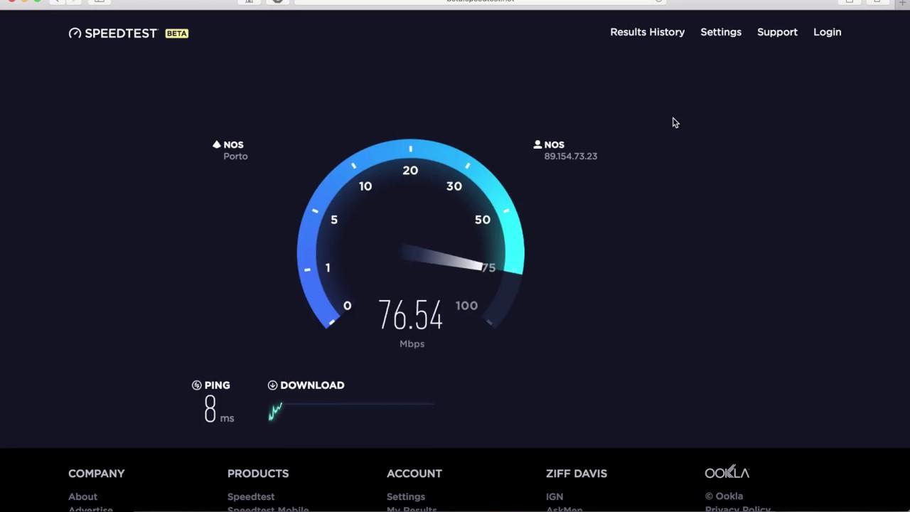 Teste de Velocidade de Internet no site SPEEDTEST (actualiza