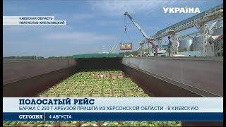 Баржа с арбузами приплыла из Херсонской области в Киевскую