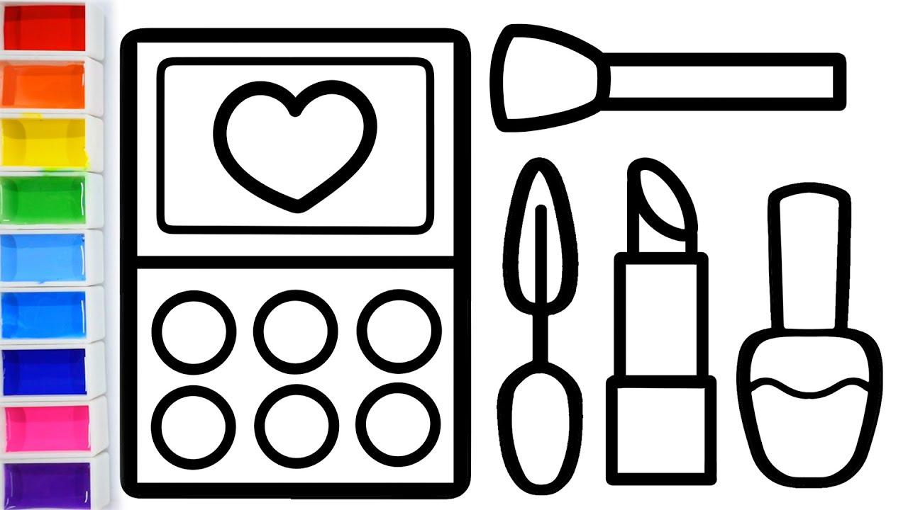 Cara Menggambar Dan Mewarnai Makeup Glitter Rainbow Makeup Tools Coloring And Drawing For Kids