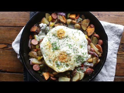 Turkey Sausage Hash with Fried Eggs and Milk Gravy