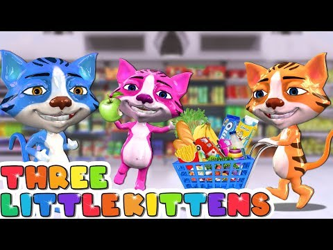 Funny Cats Go To Supermarket Shopping Cart Toys - Three Little Kittens Nursery Rhymes & Kids Songs