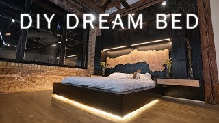 DIY Dream Bed || Modern Bedroom Renovation for my Loft || Woodworking & LED Lighting
