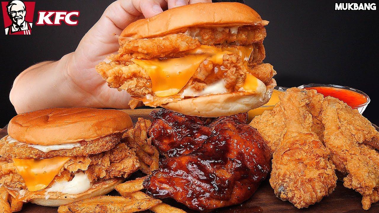 ASMR MUKBANG | KFC BURGERS 🍔 BBQ CHICKEN 🍗 FRENCH FRIES 🍟 EATING 햄버거 자메이카 통다리구이 치킨 감자튀김 소스 퐁당! 먹방