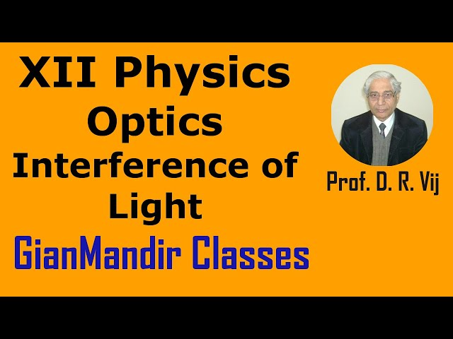 XII Physics | Optics | Interference of Light by Poonam Ma'am