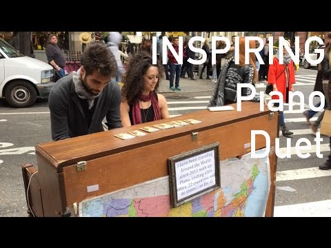 INSPIRING Musical couple play a street piano in NYC