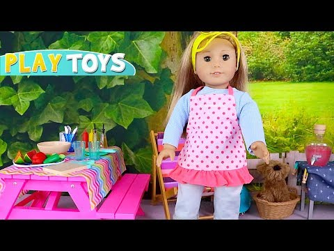 Thumbnail: Baby Doll Picnic Toys! American Girl dolls grill burgers, hot dogs in playground picnic pretend play