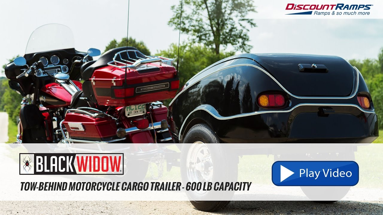 Black Widow Tow Behind Motorcycle Cargo Trailer 600 Lb Capacity